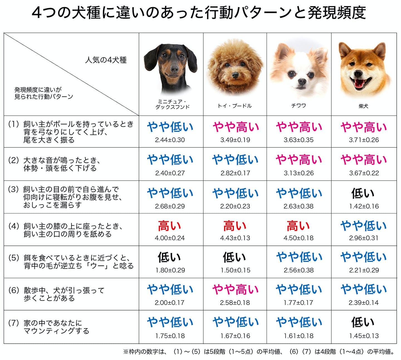 4犬種で違いのあった行動パターンと発現頻度の表