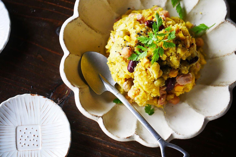 ワッフル風ポテトサラダのレシピ