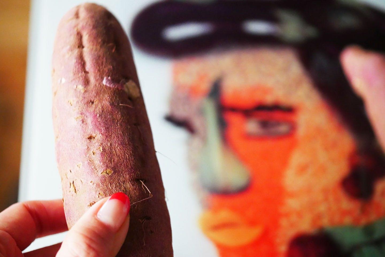 ワッフル風ポテトサラダの材料 サツマイモ