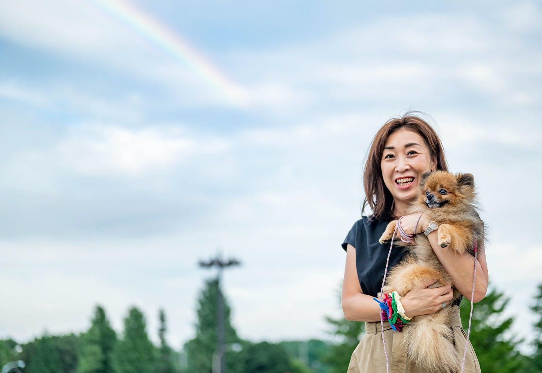 ニコルと高野さんの後ろに虹