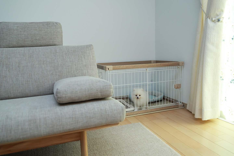 リビングに設置した犬のケージ