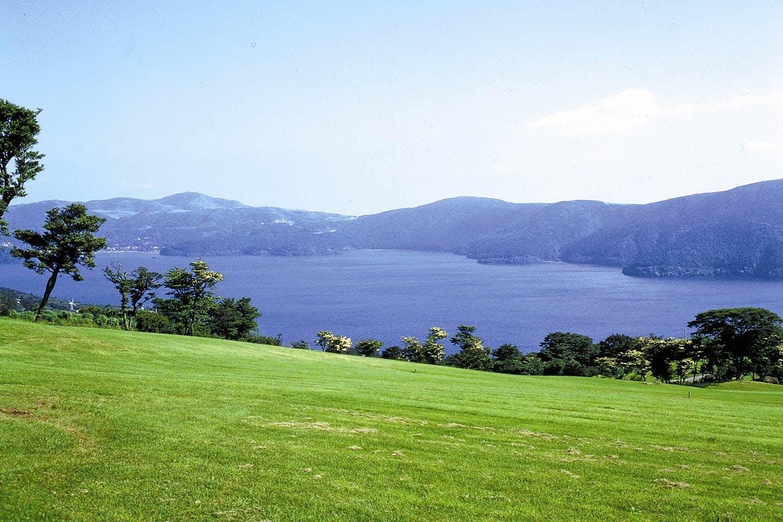 広大な芝生の向こうに見える芦ノ湖