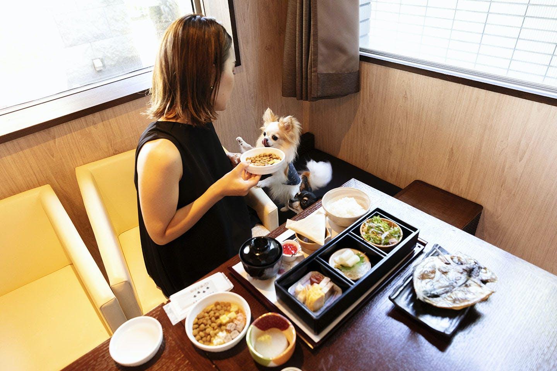 朝食を食べる中原さんとわんこ
