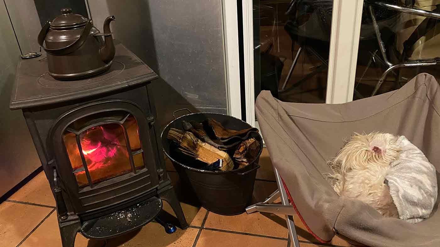 愛犬とクリスマスキャンプ 薪ストーブ前