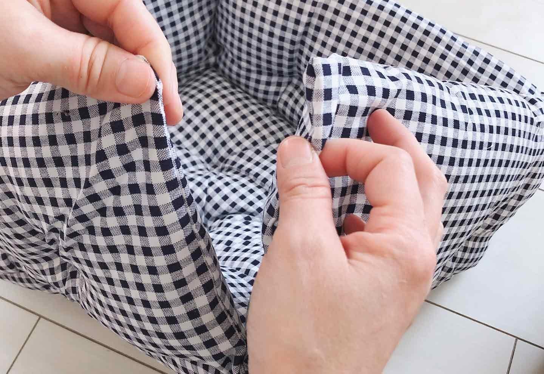座布団 リメイク DIY フチを縫う