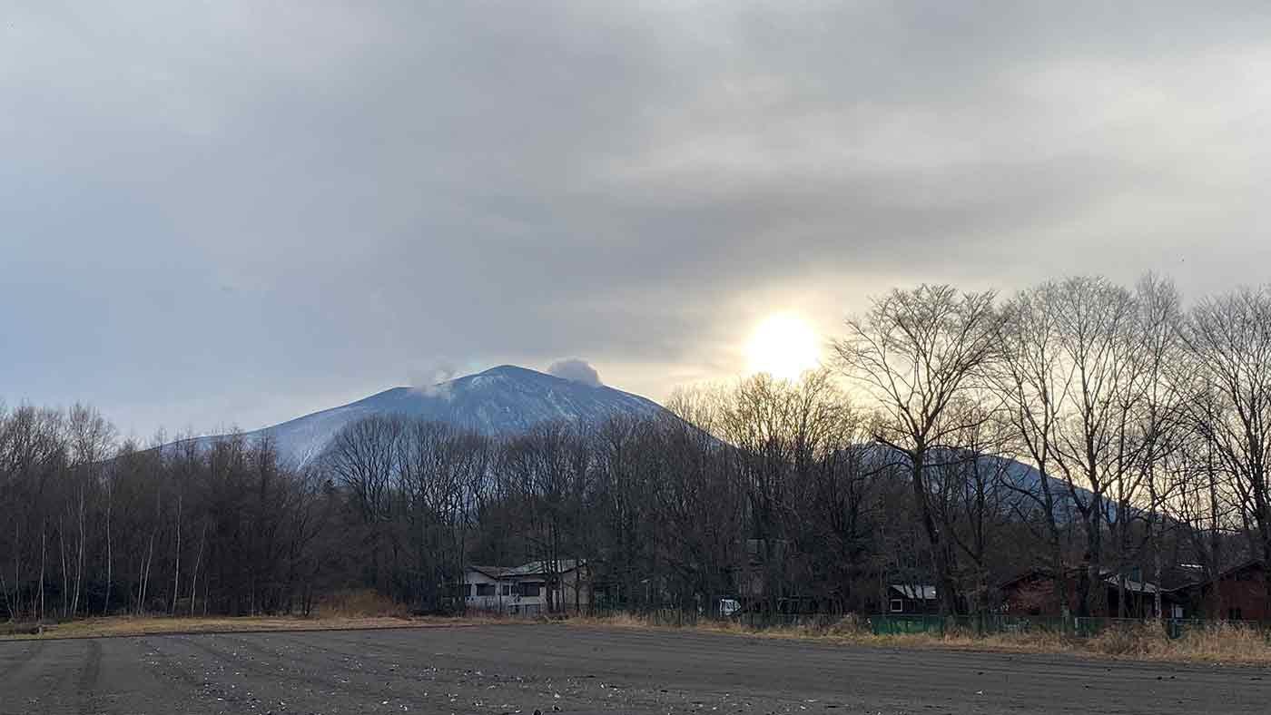 愛犬とクリスマスキャンプ 浅間山の景色