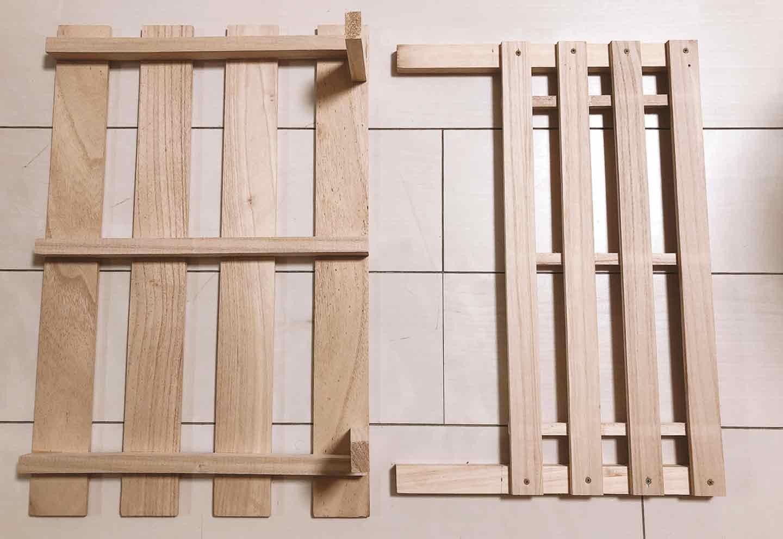 手作り愛犬用ソファー DIY  すのこと木材を合わせる