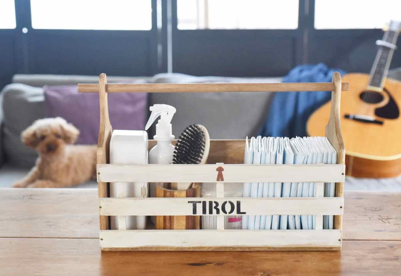 愛犬用ラックをDIY トイレシートと手足を拭くシートと綿棒、ブラシ、消臭除菌のスプレーを収納