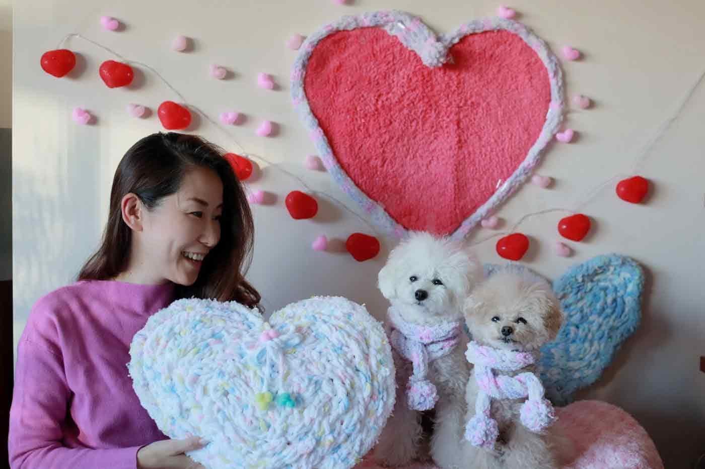 愛犬用指編みマフラー 手作り