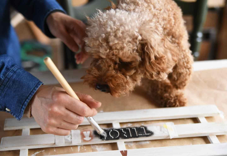 愛犬用収納ラックをDIY ステンシルで名入れ