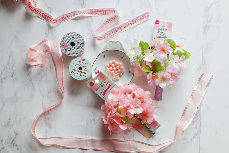 愛犬用の花飾り ハンドメイド 材料  桜の造花 リボン