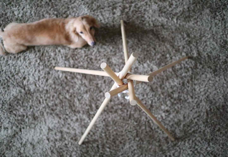 愛犬用の簡単ティピーテントの作り方 五角形になるのが理想