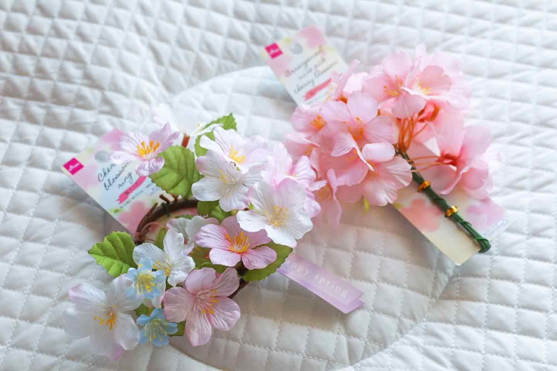 100均 桜 愛犬用の花飾り 造花の準備
