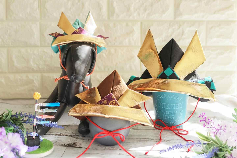 愛犬用折り紙風かぶと(帽子)の作り方 イメージ図