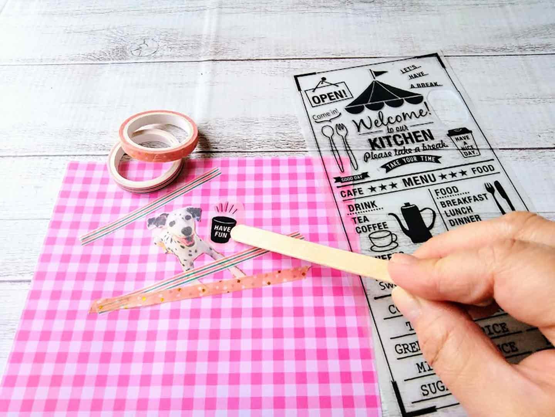 愛犬用トリーツポーチの作り方 台紙を飾り付ける