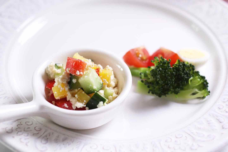 愛犬手作り健康ごはん 豆腐の彩りサラダ 完成