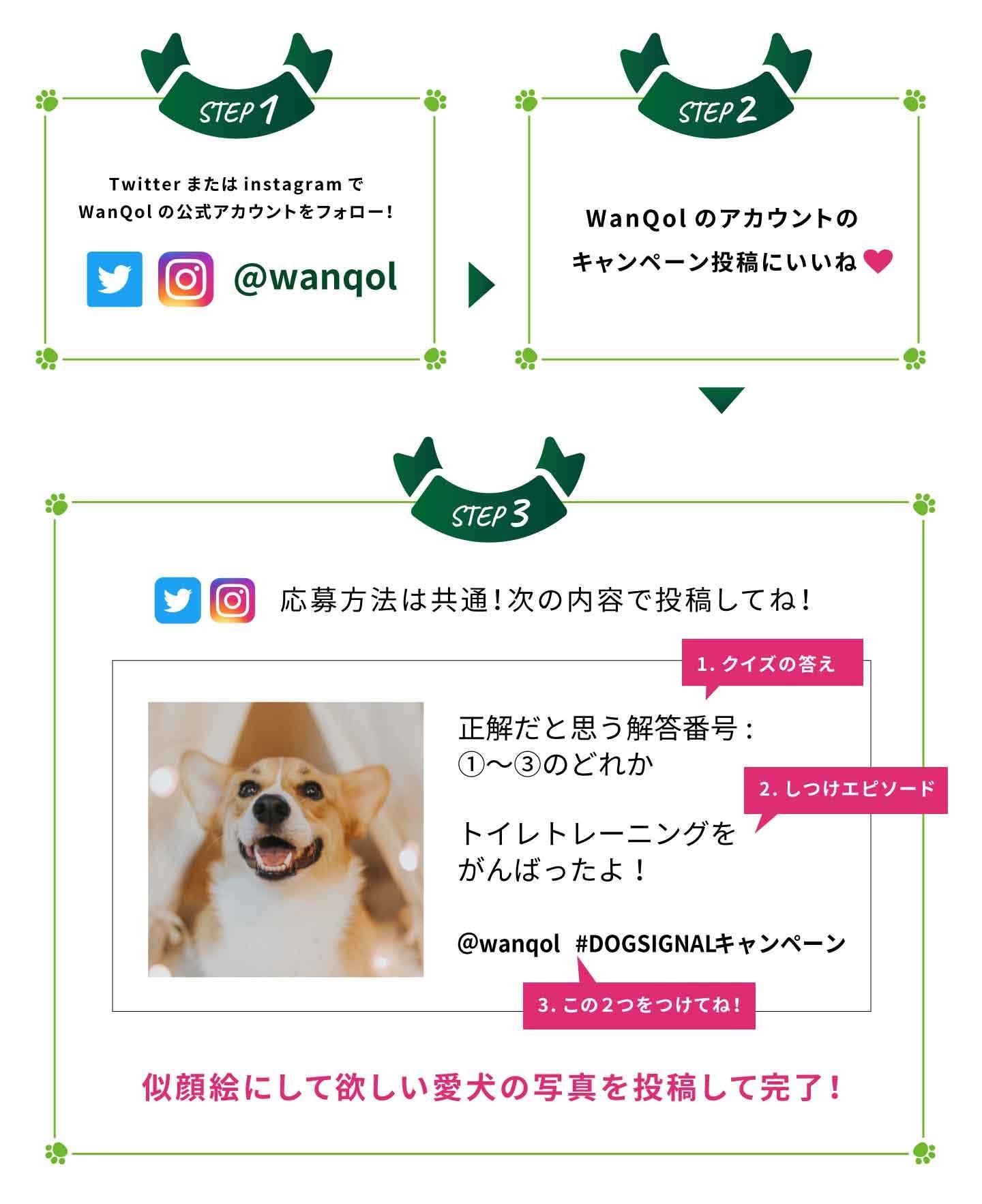 『DOG SIGNAL』とのコラボ 愛犬似顔絵キャンペーン応募方法