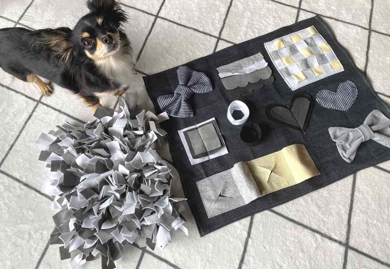 【材料費200円以下】楽しい仕掛けを簡単DIY!愛犬が遊びながら学べるノーズワークマットの作り方