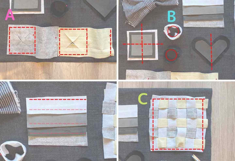 仕掛けの詰まった愛犬用ノーズワークマットの作り方 縫いつけイメージ