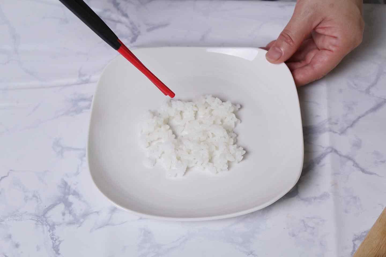 愛犬用ささみスープサラダの作り方 ご飯を盛る