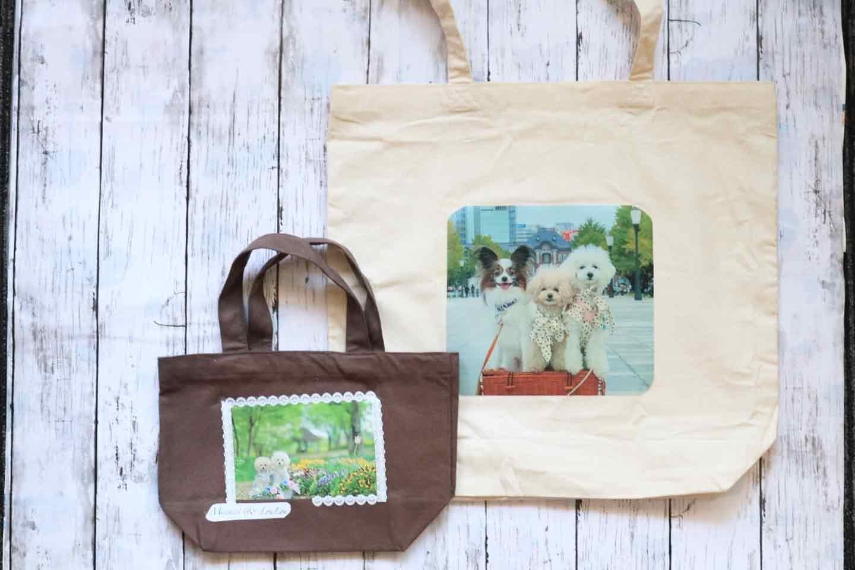 愛犬の写真をバッグに貼り付ける