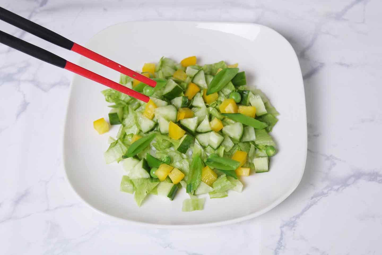 愛犬用ささみスープサラダの作り方 サラダを盛る