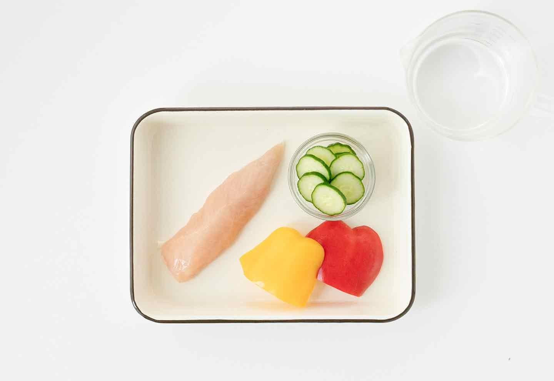 愛犬七夕レシピ 愛犬用鶏ささみと夏野菜のスープの材料