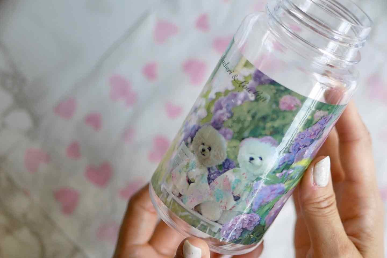 愛犬デザインのオリジナルウォーターボトルの作り方 100均のクリア水筒に綺麗にシールを貼る