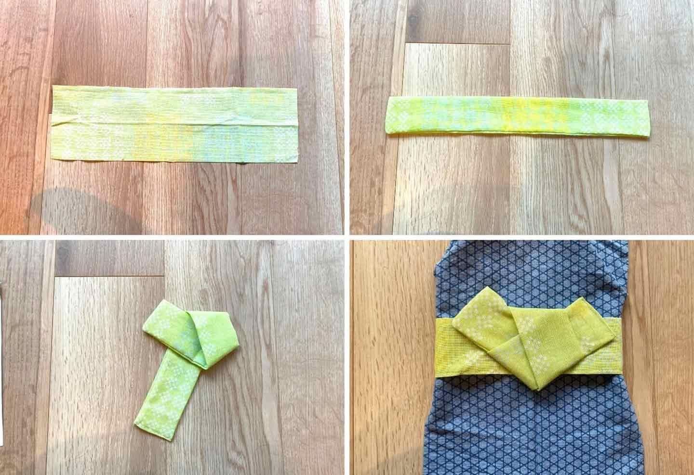 超簡単な愛犬用の浴衣の作り方 羽(リボン)をつける オス向け