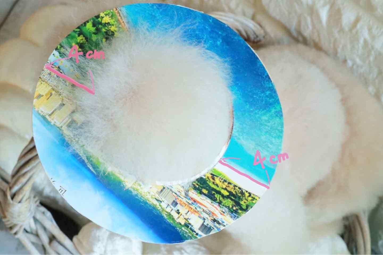 100均の紙紐で作れる 愛犬用麦わら帽子 クラウンのサイズを決める