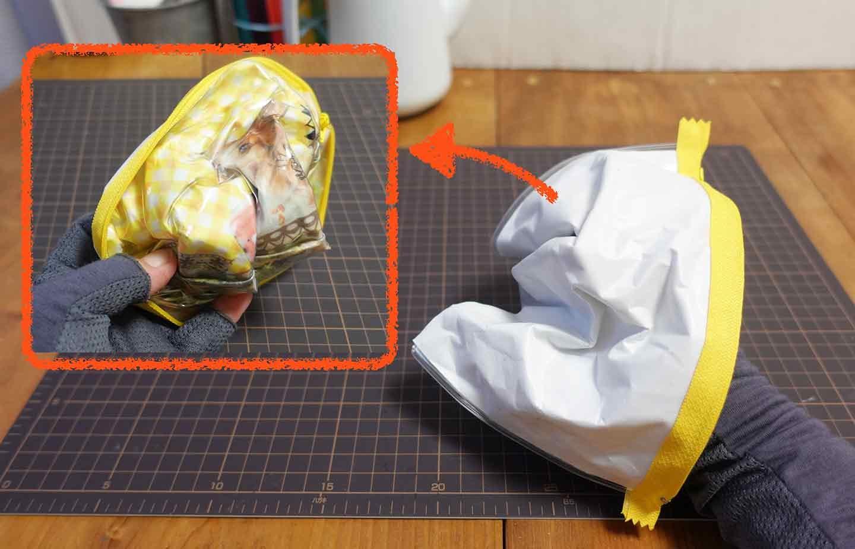 愛犬デザインのマスクケースの作り方 パスケースを裏返す