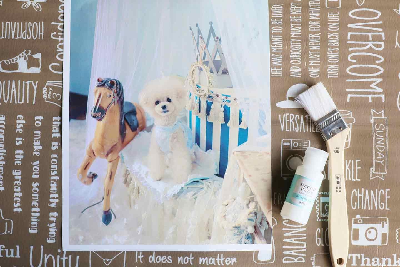 愛犬デザインのオリジナル時計の作り方手順 キャンバスに写真を貼る