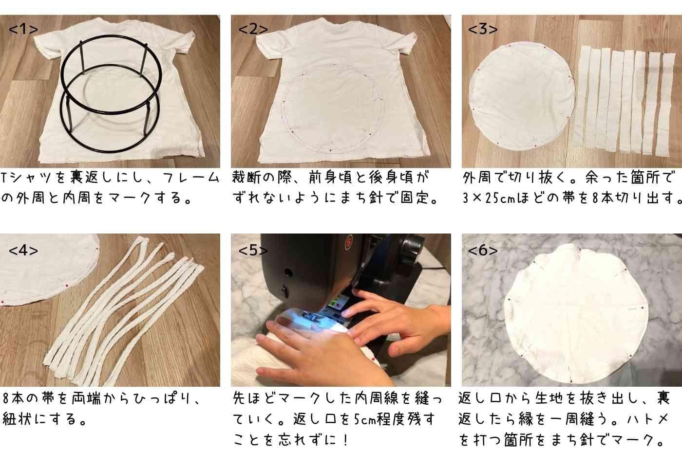リボン部分にハトメを使用するパターンの作り方